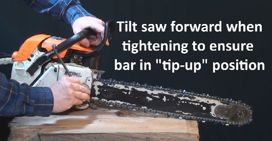 how to correctly tighten chainsaw chain