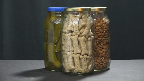 Pickle jars storing emergency food