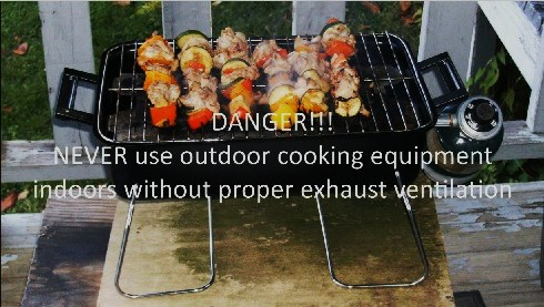 Propane BBQ with warning against indoor use
