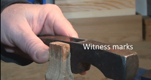 Checking witness marks for hammer head / handle insertion