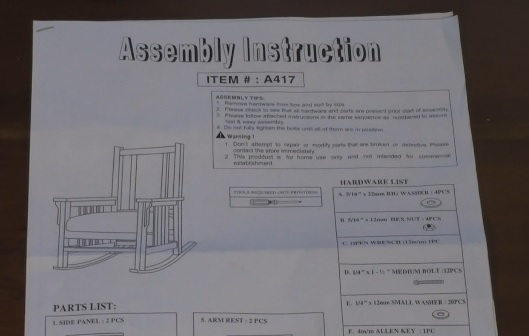 Rocking chair kit assembly instructions