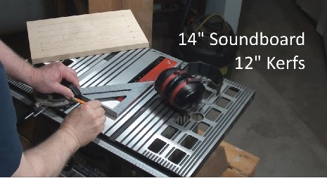 Drawing guidelines on table saw deck