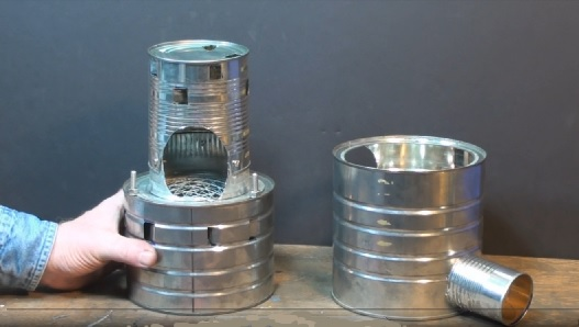 dis assembled campstove components side by side