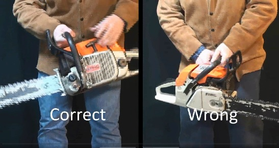 Right and wrong ways to YoYo start a chainsaw