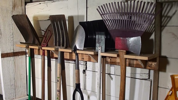 Tool rack for garden shed