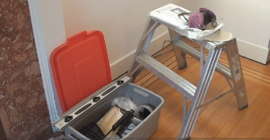 Basic paint and spackle equipment and 2 step stepladder