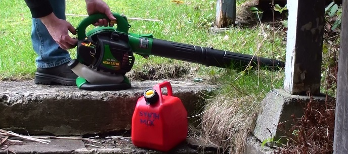 Starting a stubborn leaf blower with faulty pull start cord recoil mechanism
